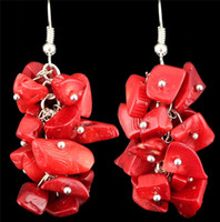 antique coral beads - Fashion Jewelry Vintage Look Antique Silver Plated Cluster Real Coral Bead Dangle Earrings