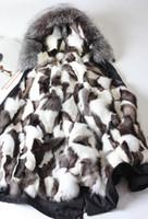 Acheter Lignes de capot-Vêtements d'hiver de neige MRMRS FUR couples Long parkas capuche avec raccoon fourrure fourrure Fox fourrure Doublure