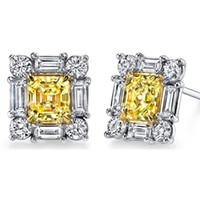 asscher cut diamond earrings - 3 Carat Fancy Yellow Asscher Cut Ladies Diamond Stud Earrings k White Gold