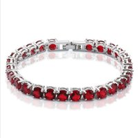 Wholesale Fancy Birthday Gift Full Red AAA Cubic Zircon CZ White KT White gold filled Bracelet Women Decoration Jewelry for Party Wedding