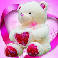 Wholesale 2017 New cm cm Free Shopping Teddy Bear Plush Wedding Bear Love Toy Doll Bear Rose Satin Heart Hold Valentine s Day Gift