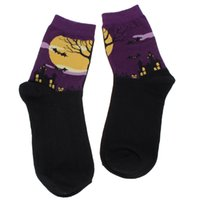 art witch - Autumn Winter Fashion Women Socks Casual Witch Halloween Printed Female Cotton Tube Vintage Famous Art Sock For Christmas Gift