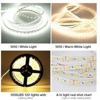 Высокая Birght СМД 5050 18-20LM прокладки водить 5m крена теплые холодный белый 60 СИД свет лампы сада домой открытый Двухпанельная 3-чип Белый 12v привели