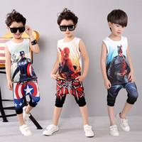 Wholesale Boys Suits Spiderman Batman Ice Silk Children Super Hero Avengers Captain America Iron Man Short Sleeve Shorts Kids Suit Sets Cotton