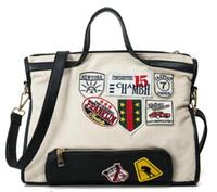 bag lady beat - 2017 New Canvas Shoulder Bag Women Street Beat Badge Handbag Ladies Large Capacity Casual Tote Handbag Patch Messenger Bags H06
