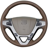 acura mdx wheels - XuJi Dark Brown Genuine Leather Car Steering Wheel Cover for Acura MDX