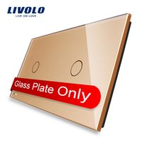 Wholesale Free Shippin Livolo Luxury Golden Pearl Crystal Glass mm mm EU standard Double Glass Panel VL C7 C1 C1