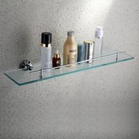 Wholesale Jieshalang A layer of glass shelf bathroom toughened glass cosmetic All the copper sanitary ware