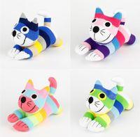 al por mayor calcetín del bebé juguetes hechos a mano-Creativo hecho a mano relleno Kawaii Stripe Sock gato bebé juguetes regalo de cumpleaños Navidad Año Nuevo Soft Animales Doll Cat