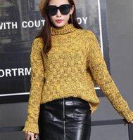 Wholesale 2016Ladies sweater sweater sleeve head thickening coarse line Turtle neck long sleeve sweater fashion women s wear