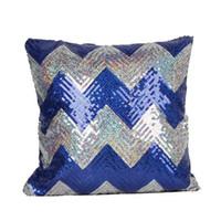Wholesale 5 Colors Hot Double Colors Wave pattern Sequins Pillow Case Shiny Square Sofa Car Decorations Bright Magic Pillow Cover