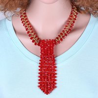 beaded tie necklace - crystal glass beaded choker tie necklace in different color for new trend