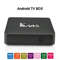 al por mayor red de streaming-KM5 Stream TV Caja Amlogic S905X Quad Core 64Bit Android 6.0 1GB 8GB 4K UHD 2.4GHz Wifi Red Media Player