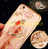 Cheap Luxury Bling Peacock Diamond Ring Holder Phone Case Crystal Flexible TPU Cover for Iphone 6 6s 6 plus with Kickstand