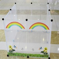 Wholesale Variety Of Styles Fashion Colorful Transparent Plastic Fence Pet Cages Free Combination Rainbow Pattern Piece Piece And Piece