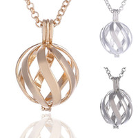 bead charm pattern - New Fashion Spiral Pattern Copper Metal Ball Cage Locket Box Pendant Necklace with Angel Music Bell Beads Chain