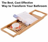 bamboo bath tub - New Design Durable Bamboo Bathtub Caddy Tray Pad Wine Candle Holder Reading Rack Bath Tub Tray Bathroom Shelves