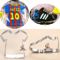 Wholesale 2pcs Sport Shirt Sneakers reposteria patisserie Cookie Cutters Metal Fondant Cake Decor Cupcake Toppers Sandwich Pastry Mould