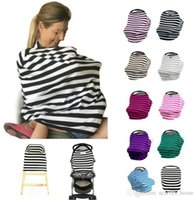 beige car seat covers - 2017 New Multi Use Stretchy Cotton Baby Nursing Breastfeeding Privacy Cover Scarf Blanket Stripe Infinity Scarf Baby Car Seat Cover DHL Free