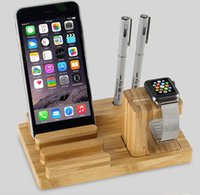 bamboo pen tablets - 3 in Desktop Bamboo Wood Stationery iWatch Stand Mobile Phone Tablet Stand for pad phone apple watch pen