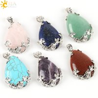 Charms Slides, Sliders Flowers CSJA Fashion Jewelry Shopping Online Women Natural Pink Rose Quartz Stone Charms Pendant for Necklace Water Drop Jewellery Love Gift E082 A