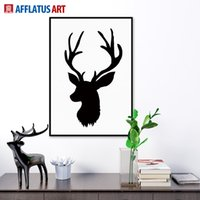 big black picture frames - Nordic Vintage Black White Deer Head Animals Silhouette A4 Big Art Print Poster Wall Picture Canvas Painting No Framed Home Decor