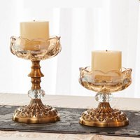 Wholesale YUMU European Vintage Candlestick Décor Crystal Candelabra Centerpieces for Christmas Decoration Candle Holders Stand Wedding Favor DH ZT