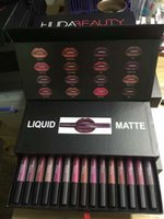 beauty gift boxes - In stock sale Huda beauty Matte Lipstick Lip Gloss colors in box Transparent box High quality Gift