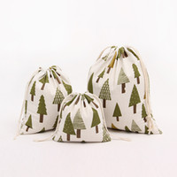 Wholesale new cotton blend hand made gift pocket bag christmas tree print string fresh canvas pocket