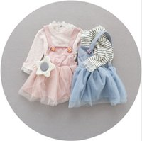 Girl baby long sleeve undershirts - 2017 New Hot Sell Spring Baby Girls Clothing Set Cotton Overalls Tutu Dress Undershirt Full Sleeve Twinset Girls Dresses Q0746