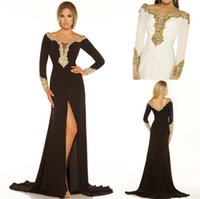 Wholesale 2016 Celebrity oscar red carpet gown mermaid long sleeve side split black sexy scoop Prom Gowns Formal Custom Evening Party Club Wear