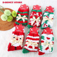 animal christmas stockings - 2016 Fashion Cute Plush Soft Socks Ladies Girls santa trees printed Winter Warm Socks Catton Pattern Comfortable Christmas Gift