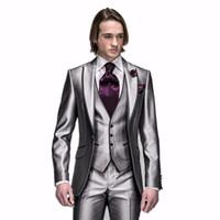 best one piece dress - Custom Made Groom Tuxedos Silver Grey Best man Peak Lapel Groomsman dresses Men Wedding Suits Bridegroom Jacket Pants Tie Vest