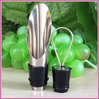 Wholesale New Design Stainless Steel Wine Pourers Wine Stoppers Wine Funnel Bottle Pourer Dumping Plug Bar Tools