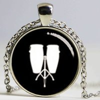 african drums music - Fashion drum set necklace drum kit silhouette art picture musical instrument stylish gift my music my pendant jewelry