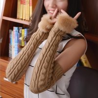Wholesale Wholesales Autumn and winter knitted twist gloves Imitation rabbit hair long winter fur yarn crochet fingerless warm gloves