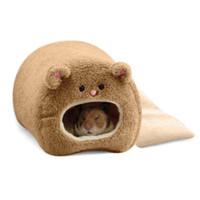achat en gros de animal ours brun-Cute Plush Hamster Bed Nest Rabbit Rat Cat Winter Warm Hanging Bed Animal Pet Hamacs Bear Toy House Cage Avec Brown