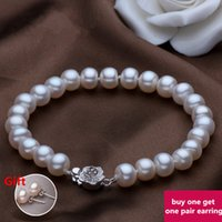 Wholesale Beaded Bracelet with Natural Fresh Water Pearl Five Colors Available and Three Sizes mm Can be Chose Buy One Get One Pair Earring Free