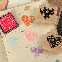 Wholesale set heart wooden rubber stamp for Kids DIY Handmade Scrapbook Photo Album students Stamps Arts Crafts gifts