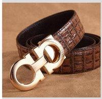 alligator belts - high grade wire drawing double D smooth buckle men s belt Leather belt Alligator Crocodile belt for men
