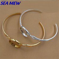 Wholesale 16mm Round Cabochon Base Bangle Setting Copper Material mm Bangle Silver Gold Bracelet Blank Setting For Women
