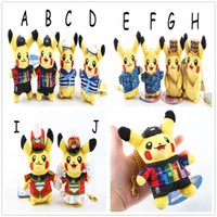 baby dressers - 10pcs cm Pikachu cross dresser Poke Pocket Monsters keychain Plush Doll Stuffed Toy For Baby Gifts