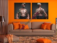 Wholesale 2 Panel Modern Abstract The Smoking rod in its mouth Cool Popeye tattoo Painting On Canvas No Frame