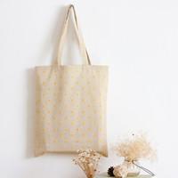 al por mayor amarillo bolsa reutilizable-Venta al por mayor- YILE Hecho a mano de algodón de lino Eco Reutilizables Compras Bolsa de hombro Tote amarillo Daisy L029