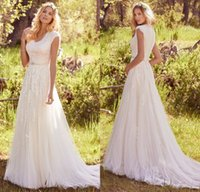 Wholesale Country Vintage Summer Dresses - Newest Elegant Lace Appliques Tulle Modest Wedding Dresses With Cap Sleeves V Neck Buttons Back Beaded Belt Country Bohemian Wedding Gowns