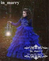 Wholesale Royal Blue Glitz Girls Pageant Dresses Size Ball Gown High Neck Long Sleeves Ruffles Plus Size Cupcake Flower Dress For Girls