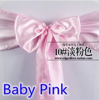 baby high chair cover - Baby pink colour high quality satin sash chair bow for chair covers sash spandex party and wedding decoration