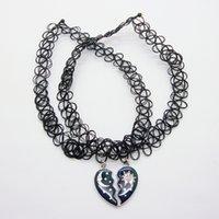 al por mayor plástico collar pendiente del corazón-Plástico trenzado handworking mejor amigo tatuaje gargantilla collar con medio corazón ánimo encanto colgante