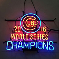 Wholesale 17 quot x14 quot Chicago Cubs World Series Champions Glass Tube NEON LIGHT BEER BAR CUSTOM Wall SIGN