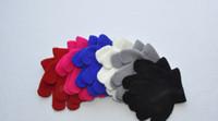 100pairs / lot 10cm enfants hiver chaud mitaines cinq gants fille garçon kids multicolore pur tricot doigt gant